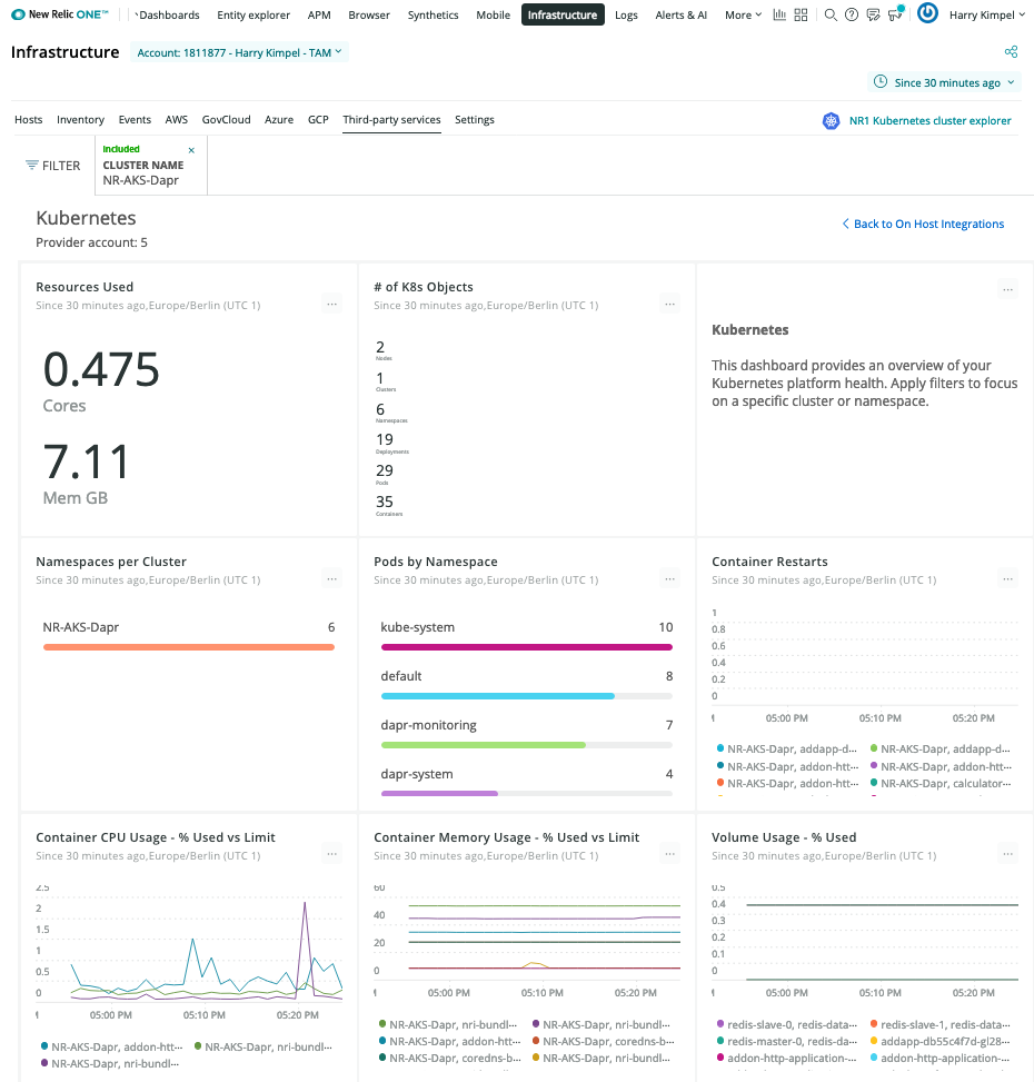 New Relic Dashboard Kubernetes Overview