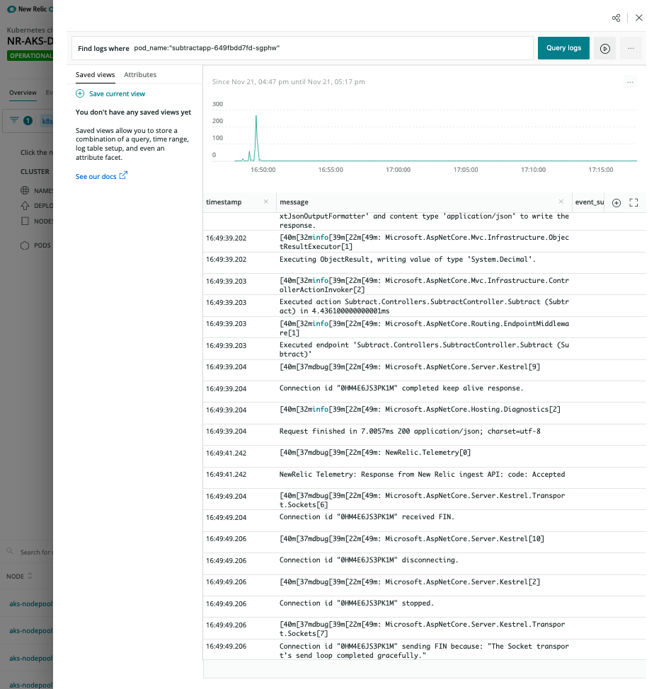 New Relic K8s Logs In Context