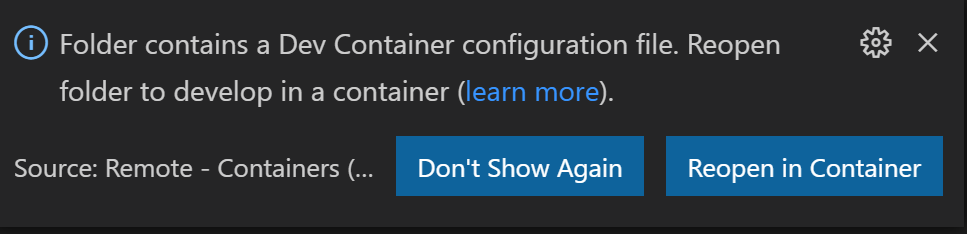 Screenshot of reopening an application in the dev container